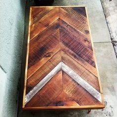 Reclaimed Barn wood Chevron arrow herringbone COFFEE, dining, entry way foyer loft console table.  Modern hairpin steel legs.
