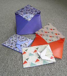 origami - tarjetas grulla con sobre