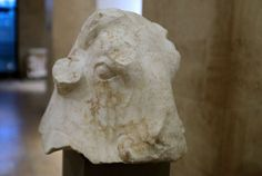LEBANON, Beirut - Lebanon museum unveils artefacts looted during civil war  - February 2, 2018.  Lebanon's national museum on Friday unveiled five ancient sculptures, including a Phoenician bull's head returned by the United States, that were looted during the civil war.  Image -A life-size 4th century BC white marble bull's head , part of five ancient scultures looted during Lebanon's civil war on display February 2, 2018 at Beirut National Museum after they were returned by United States.