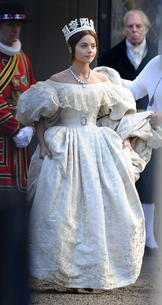 Royal role: Jenna Coleman was seen filming scenes for the anticipated ITV drama Victoria on Sunday in York, with the Doctor Who actress playing the young queen in the early years of her reign Victoria Jenna Coleman, Victoria Pbs, Victoria Tv Show, The Young Victoria, Victoria 2016, Queen Victoria Series, Victoria Masterpiece, Victoria Costume, Cosplay Costume