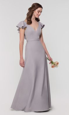 Shop long bridesmaid dresses with ruffled cap sleeves at Kleinfeld Bridal Party. Brushed satin formal dresses for bridesmaids and misses and plus-sized v-neck bridesmaid dresses with attached belts. Stylish Dress Designs, Stylish Dresses, Modest Dresses, Fall Dresses, Simple Dresses, Prom Dresses, Summer Dresses, Formal Dresses, Satin Bridesmaids Gowns