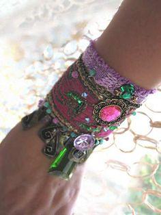Enrich Gypsy Bracelet, Antique Embroidery, Vintage, Woven, Purple, Green, Pink, Cuff, Bohemian. $155.00, via Etsy.