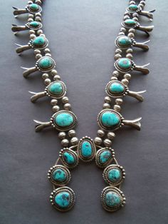 NATIVE AMERICAN STERLING SILVER TURQUOISE SQUASH BLOSSOM NECKLACE NO RESERVE