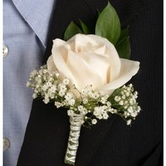 FiftyFlowers.com - Classic Rose Ivory and Peach Boutonniere and Corsage Wedding Package