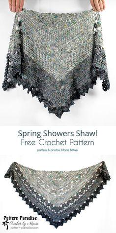 Spring Shawl Free Crochet Patterns (Your Crochet) One Skein Crochet, Crochet Shawl Free, Crochet Gratis, Crochet Scarves, Crochet Lace, Crochet Hooks, Crochet Triangle, Beautiful Crochet, Ravelry