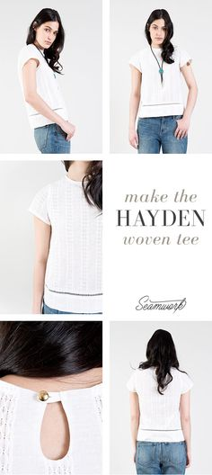 Total wardrobe staple... the Hayden woven tee from Seamwork. You can make it in 2 hours! Seamwork is a super affordable way to make your own wardrobe. You subscribe to Seamwork and get to download 2 patterns every month from their library. All the patterns are quick to make, so it's really easy to build your own perfect wardrobe. Plus, the magazine offers tons of helpful and inspiring articles to go with the new patterns every month. I love it!