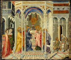 Giovanni di Paolo (Giovanni di Paolo di Grazia), 1398-1482, Italian, The Presentation of Christ in the Temple, c.1435.  Tempera and gold on wood, 38.7 x 43.8 cm.  Metropolitan Museum of Art, New York. Proto-Renaissance, Early Renaissance.