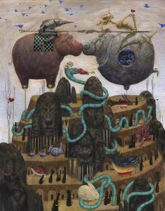 'The Golden Whistle Jousting Hippo' by Bill Carman. Find out more about Bill and see more of his fantastic art in his interview at wowxwow.com. (drawing, painting, illustrator, illustration, narrative, story, storytelling, fantasy, symbolism, animals, nature, wildlife, characters, pop surrealism, new contemporary art)