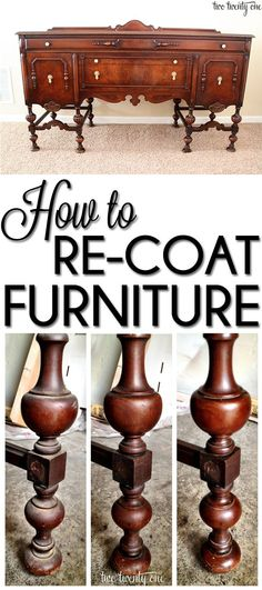 the Buffet How to re-coat furniture-- especially family heirlooms you don't want to paint!How to re-coat furniture-- especially family heirlooms you don't want to paint! Furniture Repair, Old Furniture, Repurposed Furniture, Furniture Projects, Furniture Making, Furniture Makeover, Home Projects, Painted Furniture, Furniture Refinishing