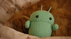 """""""Android"""" Robot crochet amigurumi doll by Christine Chen of PeachieLove (or APeachieProduction) @ etsy.com"""