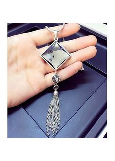 7.92$  Buy here - http://didmm.justgood.pw/go.php?t=169585 - Rhinestone Decorated Tassel Design Square Shape Necklace