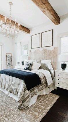 Modern Farmhouse Bedroom, Bedding Master Bedroom, Farmhouse Master Bedroom, Small Room Bedroom, Master Bedroom Design, Home Decor Bedroom, Modern Bedroom, Home Room Design, Small Rooms