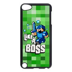 Minecraft Like A Boss Blue Apple Ipod 5 Touch Case Cover, $16.50