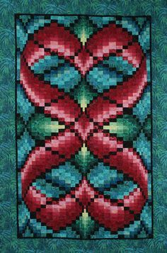 "Hearts Entwined bargello quilt, 46 x 70"", pattern by Linda McGibbon 