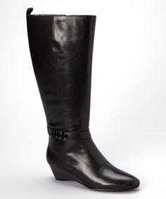Look at this #zulilyfind! Black Adanna Leather Wedge Boot #zulilyfinds