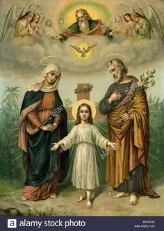 religion, Christianity, holy family, religious mural, Germany, circa 1900, 1900s, 00s, 20th century, historic, historical, God t Stock Photo