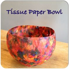 Tissue Paper Bowl Tutorial from bigboolittleboo. Any solitary determine regenerating it is brain concerning firmly Paper Mache Paste, Paper Mache Bowls, Paper Bowls, Paper Mache Sculpture, Tissue Paper Crafts, Diy Paper, Paper Mache Crafts For Kids, Felt Crafts, Easy Crafts