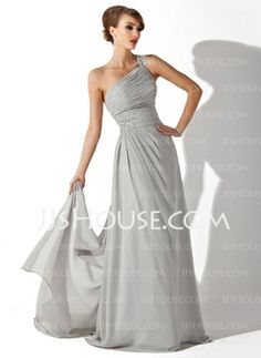A-Line/Princess One-Shoulder Watteau Train Chiffon Evening Dress With Ruffle Beading (017002625)////in champagne
