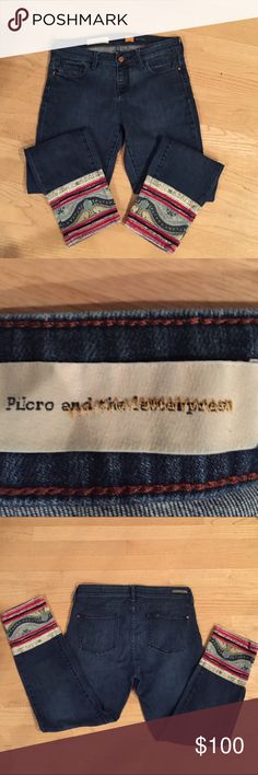Pilcro And the letter Stet Cropped Jeans Only worn once,still looks like new,inseam is 27 inch,really cute detail at the bottom of the pants,love it and selling it for saving for my kids education accounts. Anthropologie Pants Ankle & Cropped