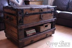 A New Twist on a Trunk Table. Monster Makeover - This was actually a huge makeover. I don't know if I can get all the steps in here or not. I do a lot o… Vintage Industrial Furniture, Refurbished Furniture, Repurposed Furniture, Painted Furniture, Industrial Table, Repurposed Items, Old Trunks, Vintage Trunks, Trunks And Chests