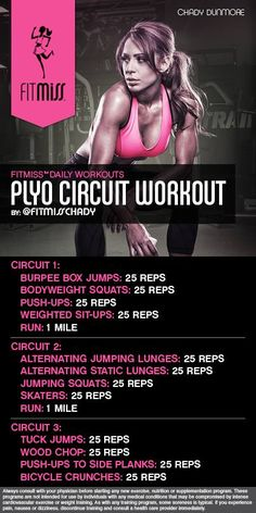 Bad ass plyo cardio workout by Fitmiss Fitness Workouts, Plyo Workouts, Fitness Motivation, Plyometric Workout, Plyometrics, Body Workouts, Circuit Training Workouts, Quick Workouts, Kickboxing Workout