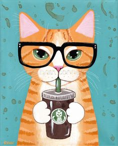 Ginger Iced Coffee Cat Original Cat Folk Art Acrylic Painting Ginger Iced Coffee Cat Original Cat Folk Art Acrylic Painting By Kilkennycat Art 95 00 Usd Copyright Ryan Conners Folk Art Acrylic Paint, Frida Art, Photo Chat, Ecole Art, Coffee Cat, Iced Coffee, Starbucks Coffee, Ginger Cats, Cat Drawing