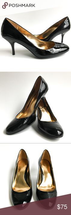 """Coach """"Salma"""" Black Patent Leather Pump Luxurious, shiny, soft patent leather complements the beautiful curves of this refined round-toe pump design, while a chic, slender 3"""" heel and provide sophisticated height. Never worn. Only tried on. Box not included. See pictures for details. Coach Shoes Heels"""