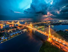 'Rain Of Blessing' at the Bhumibol Bridge, Bangkok, Thailand - photo by AtomicZen : ), via Luxury Private Jets, Thailand Photos, Stunning View, Beautiful, Best Location, Night Photography, Oh The Places You'll Go, Luxury Travel, Wonders Of The World