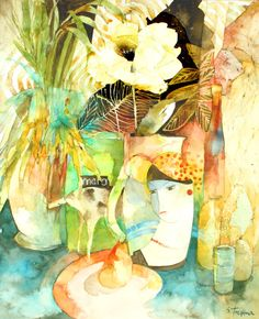 Paper Flower in a French Vase - Watercolour