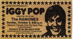 Iggy Pop, Ramones @ The Masonic Temple, Toronto, October 9th, 1977