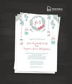 Floral Wreath and Mason Jar Wedding Invitation