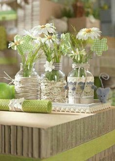 Good idea to cover bottles and jars. Bottles And Jars, Glass Jars, Mason Jar Crafts, Mason Jars, April Birth Flower, Driving Miss Daisy, Centerpieces, Table Decorations, Altered Bottles
