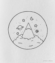 Easy Doodles Drawings, Space Drawings, Cute Easy Drawings, Art Drawings Sketches Simple, Drawing Ideas, Beautiful Easy Drawings, Easy Drawing Designs, Cool Small Drawings, Simple Tumblr Drawings