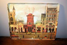 "Michel Delacroix ""Le Moulin Rouge"" Melamine Tray, Vintage Home Decor, Mebel Tray"