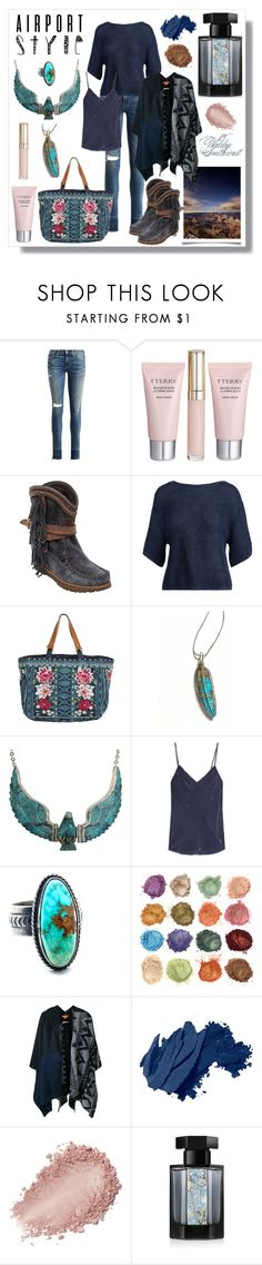 """Wilder Southwest:  Airport Style"" by wildersouthwest ❤ liked on Polyvore featuring Polo Ralph Lauren, By Terry, El Vaquero, Johnny Was, Mes Demoiselles..., Ermanno Gallamini, Bobbi Brown Cosmetics, L'Artisan Parfumeur, travel and western"
