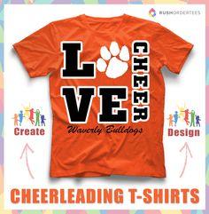 Love to Cheer! Create custom cheerleading t-shirts for your school… Cheer Coach Shirts, Cheer Coaches, Cheer Stunts, Nca Cheer, Cute Cheer Shirts, Sports Shirts, Mom Shirts, Football Cheer, Cheer Camp