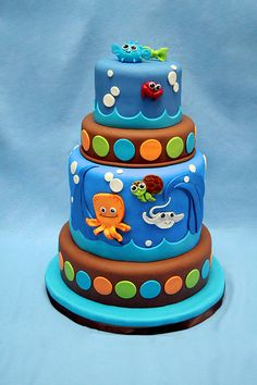 Under the sea critters cake is so perfect for your under the sea baby shower theme.