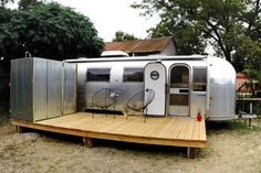 Newly renovated Airstream in gated + fenced in backyard of home in historic Lavaca.
