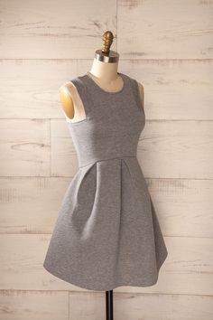 Lucani Grey - Light grey scuba knit a-line dress