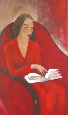 woman reading by Marie Godest Art And Illustration, Illustrations, Reading Art, Woman Reading, Reading Books, Book Art, Books To Read For Women, World Of Books, Red Art