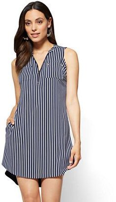 Zip-Front Sleeveless Shift Dress - Navy - Stripe - New York & Company Preppy Dresses, Simple Dresses, Women's Fashion Dresses, Dress Outfits, Casual Dresses, Frocks For Girls, Embroidery Fashion, Traditional Dresses, Designer Dresses