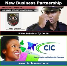 SAS Security & CIC Cleaning Solutions are proud to announce their business partnership. Together, we provide quality and cost efficient solutions to all your security and cleaning needs. Servicing the commercial and industrial industries in Cape Town. Contact us today for a FREE quotation.  www.ciccleaners.co.za sales@ciccleaners.co.za  www.sassecurity.co.za sales@sassecurity.co.za  #businesspartnership #sasseceurity #ciccleaners #commercial #industrial #cleaningsolutions #cleaners #capetown Security Guard Services, Security Service, Free Quotes, Cleaning Solutions, Cape Town, Quotations, Commercial, Industrial, Business