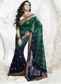 Attractive Zarine Khan Green & Blue Georgette Saree