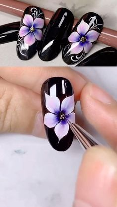 This is really a very beautiful petal nail design, I want to learn it just this summer. Nail Art Designs Videos, Nail Design Video, Nail Art Videos, Nails Design, Flower Design Nails, Floral Nail Art, White Nail Art, Nail Art Hacks, Nail Art Diy
