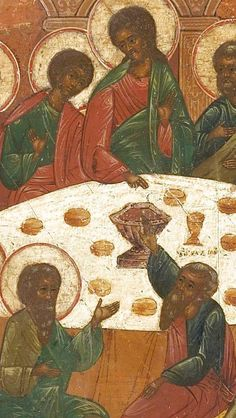 Detailed view: T164. The Last Supper- exhibited at the Temple Gallery, specialists in Russian icons
