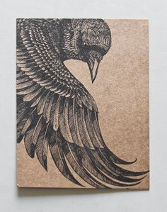 Original Art Postcard detailed hand drawing of a Raven by Shovava