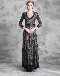 Lace Floral Wasp-waisted Maxi Dress, Black, FeiHua. LIAN  | VIPme
