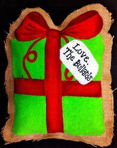 Burlap Christmas Present Door Hanger by FancyDayDesigns on Etsy, $20.00