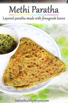 methi paratha is a popular Indian flatbread made with wheat flour & methi leaves aka fenugreek leaves. Methi paratha is a healthy & flavorful dish that's eaten for brekafast or meal. Lunch Box Recipes, Lunch Snacks, Baby Food Recipes, Beef Recipes, Breakfast Recipes, Vegetarian Recipes, Cooking Recipes, Yummy Recipes, Snack Box