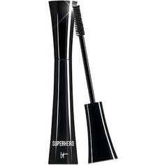 It Cosmetics Superhero Elastic Stretch Volumizing Mascara. This gives me good volume and length and it doesn't smudge or flake. That's all I want in mascara. Mascara Review, Mascara Tips, Best Mascara, Everyday Beauty Routine, Beauty Routines, It Cosmetics Mascara, Black Pigment, Lengthening Mascara, Magical Makeup